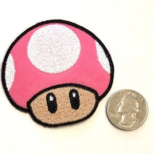 Toad patch iron on pink Super Mario DIY video game